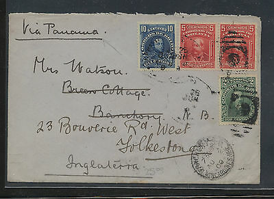 Bolivia  71-74  on cover to  Engoand  1909             AT0708