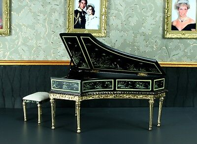 "Grand Piano Black Asian Motif DOLLHOUSE FURNITURE 1/12 or 1"" Scale BESPAQ"