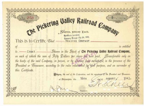 Pickering Valley  Railroad Company. Stock Certificate 1943