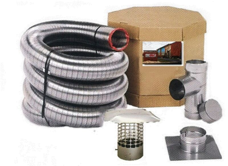 """6"""" DIAMETER FLEX-ALL SMOOTHWALL ALL FUEL STAINLESS STEEL CHIMNEY LINER KITS"""