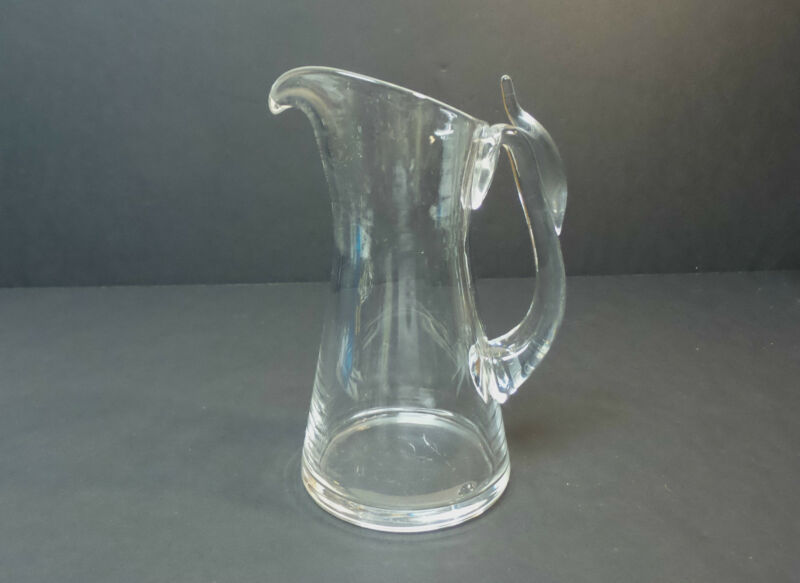 "VINTAGE STEUBEN CLEAR CRYSTAL 8"" MID-CENTURY PITCHER, UNUSUAL HANDLE"