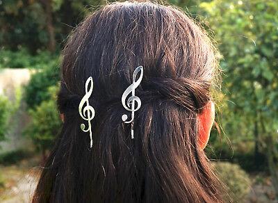 Haarklammer Notenschlüssel Gold Silber Metall Haarspange Musik Noten Klavier ()