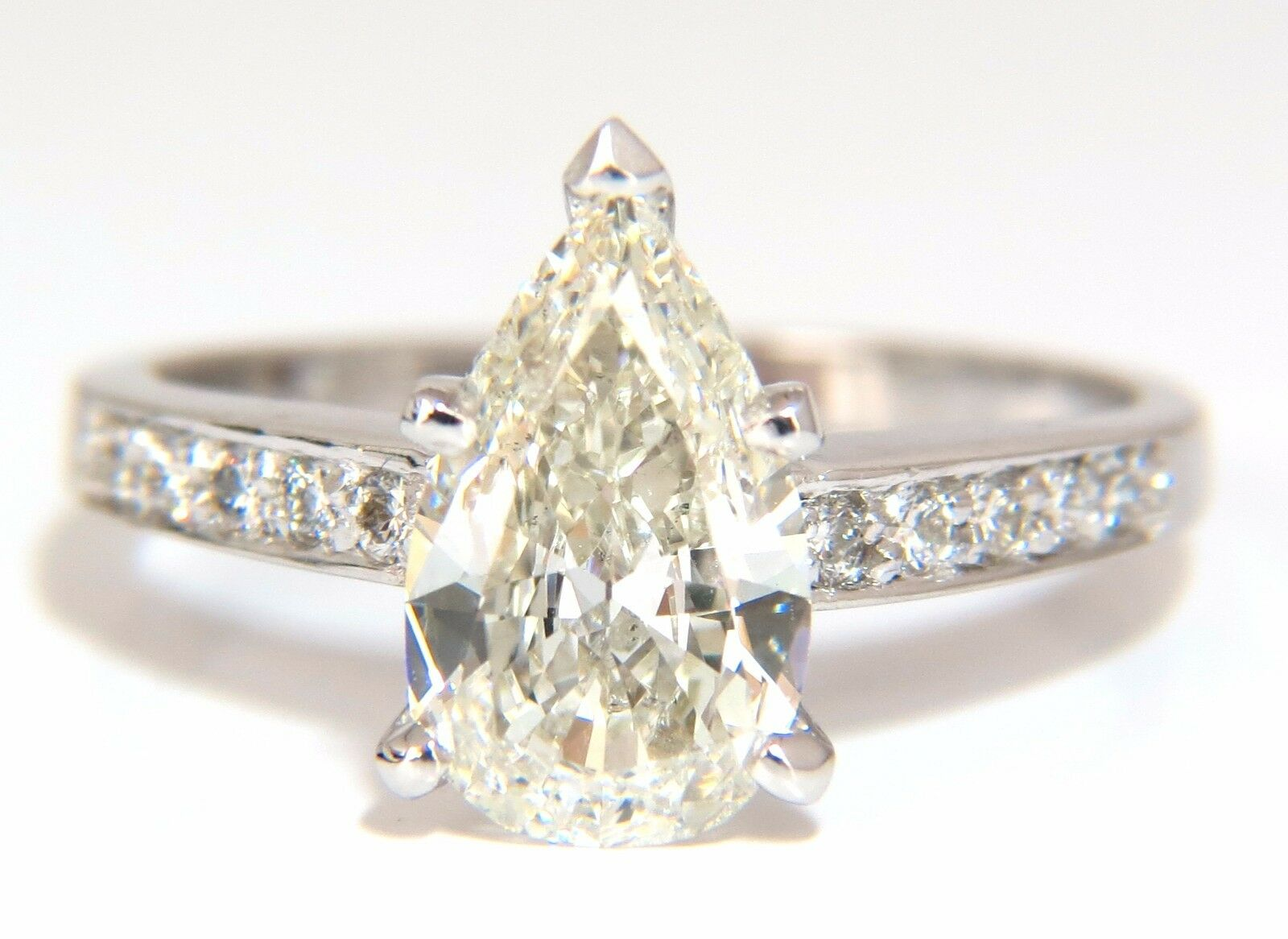 GIA Certified 1.49ct Pear Shape diamond ring .20ct. round accents 14kt 4