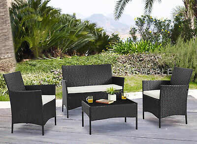 Black 4 Piece PE Rattan Garden Lounge Set Patio Outdoor Backyard Furniture