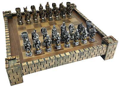 King Arthur Chess (KING ARTHUR KNIGHTS W/ DRAGON FANTASY MEDIEVAL TIMES CHESS Set CASTLE BOARD)
