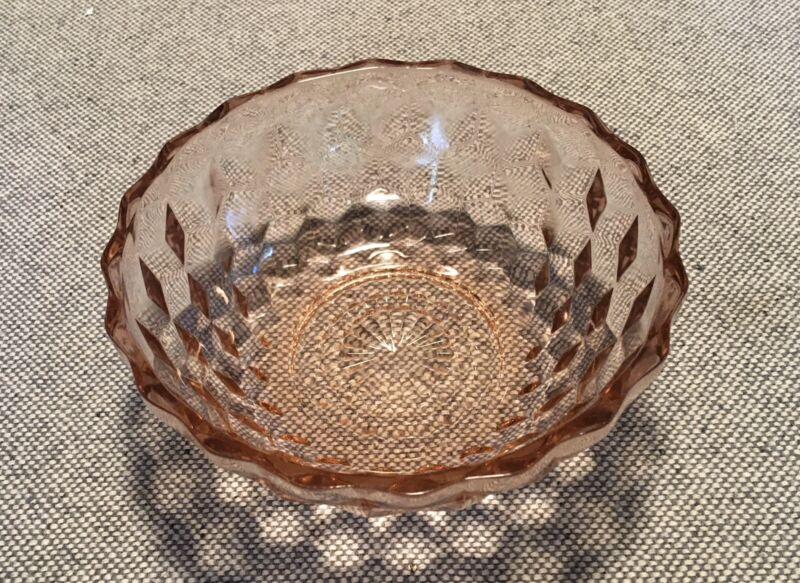 PINK DEPRESSION CUBIST or CUBE JEANNETTE GLASS CO. VINTAGE BOWL