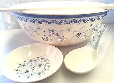 5 Piece Asian Pho Noodle Soup Bowl Plate Spoon Chopstick Set Melamine Plastic  5 Piece Plate Setting