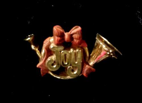Vintage 1983 Hallmark Plastic JOY French Horn Christmas Holiday Brooch