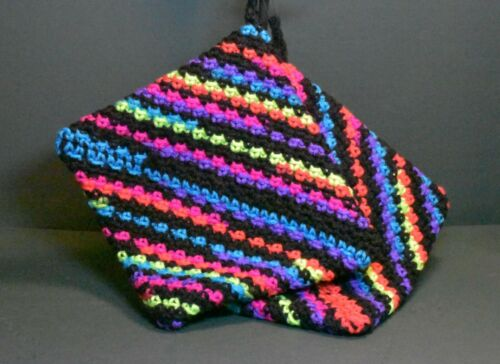 """Hand Crocheted Double Thick Hot Pad Pot Holder Pair """"Friday Night Neons"""" Black"""