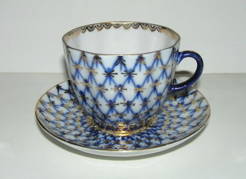 """Vintage USSR LFZ Lomonosov factory Porcelain Cup and Saucer """"TULIP"""" COBALT NET"""