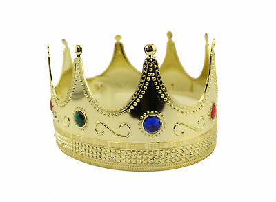 Gold Plastic King Crown Hat Regal Prince Medieval Headpiece Jeweled Crown LOT - Plastic Prince Crown