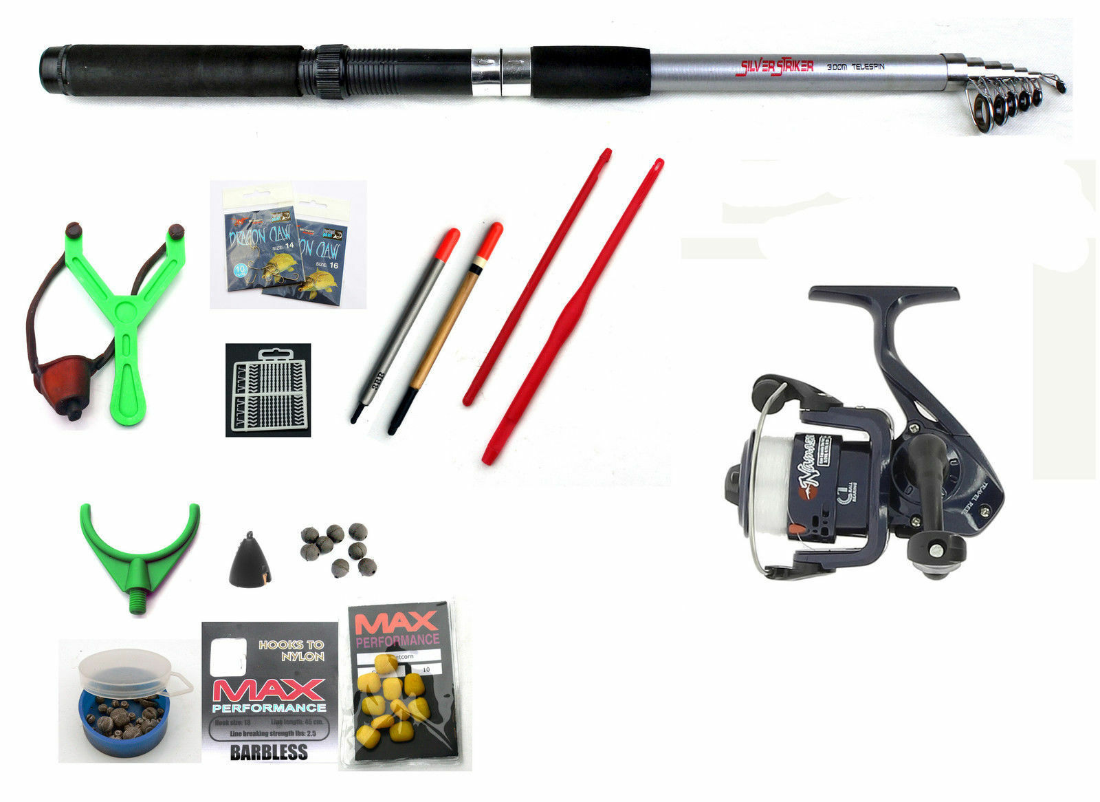 Silver Strike tele trout fishing Travel Rod /& Reel Combo with line /& spinners
