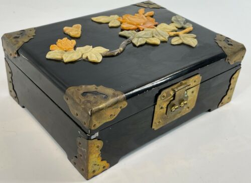 """Vintage 8"""" China Black Lacquer Carved Soapstone Floral Brass Trim Jewelry Box"""