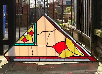 Vintage Original Reclaimed Corner Leaded Stained Glass Window Panels x 4