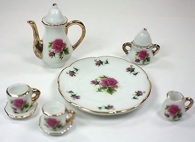 - TINY TEA SET MAUVE ROSE TEAPOT SUGAR BOWL CREAMER 2 TEACUPS PLATTER PORCELAIN