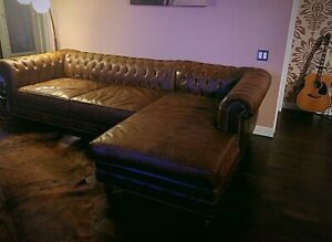 Restoration Hardware inspired sectional leather couch
