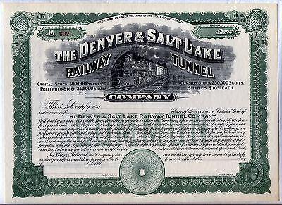 Denver & Salt Lake Railway Tunnel Company Stock Certificate Railroad Colorado