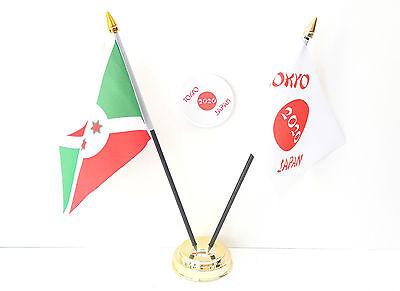 Burundi & Tokyo Japan Olympics 2020 Desk Flags & 59mm BadgeSet
