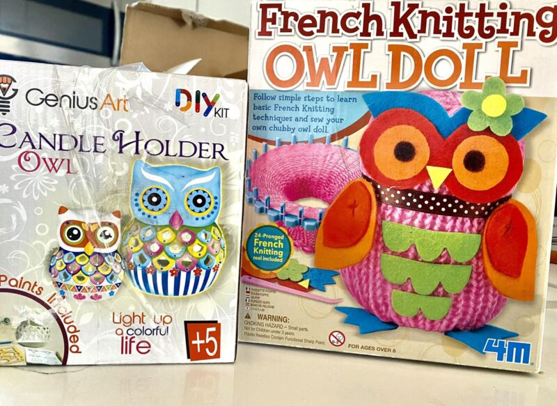 DIY Arts And Crafts Owl Kit Knit & Paint At Home For Kids And Adults 5+