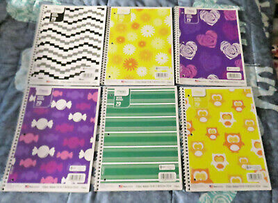 6 New Mead 1 Subject Wide Ruled Spiral Bound Notebooks - Asst Designs Colors