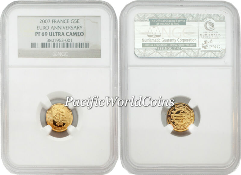 France 2007 Eruo 5th Anniversary 5 Euro Gold NGC PF69 ULTRA CAMEO