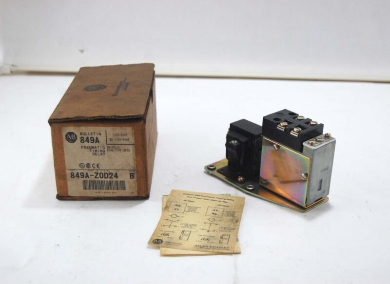New Allen Bradley Pneumatic Timing Relay 849A-Z0D24 Ser B 120v-60Hz 110v-50Hz