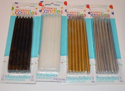4 packs Black White Gold Silver Taper Birthday Candles Party Time Amscan Cake