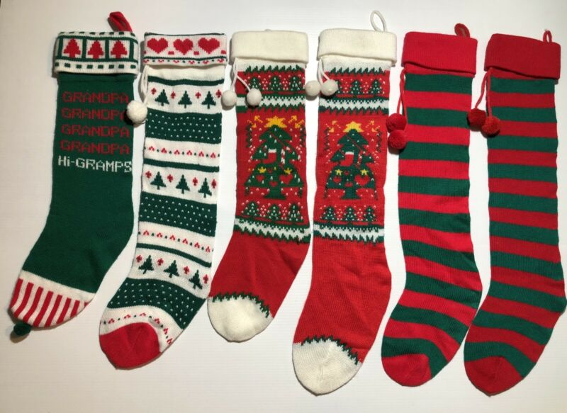 Vintage Christmas Stocking Socks Knitted Lot/6