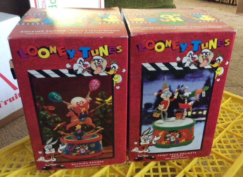 1996 Looney Tunes Christmas Mini Action Musical Lot (2) Yosemite Sam Bugs S2