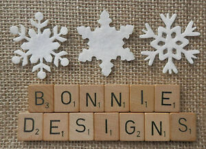 FELT x18 WHITE Mixed SNOWFLAKES Die Cuts Appliqué Christmas Bunting Advent Trims