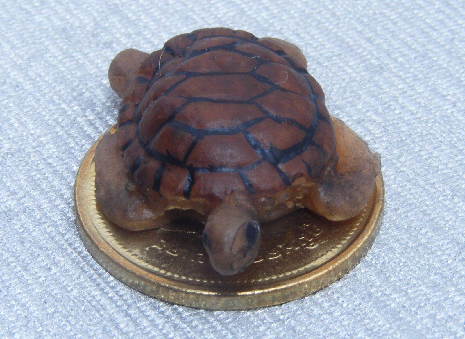 112 Maßstab Braune Schildkröte Tumdee Puppenhaus Miniatur Garten Haustier T11