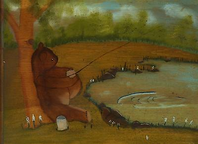FOLK ART STUFFED ANIMAL TEDDY BEAR FISHING POLE POND FLOWERS HONEY JAR PAINTING