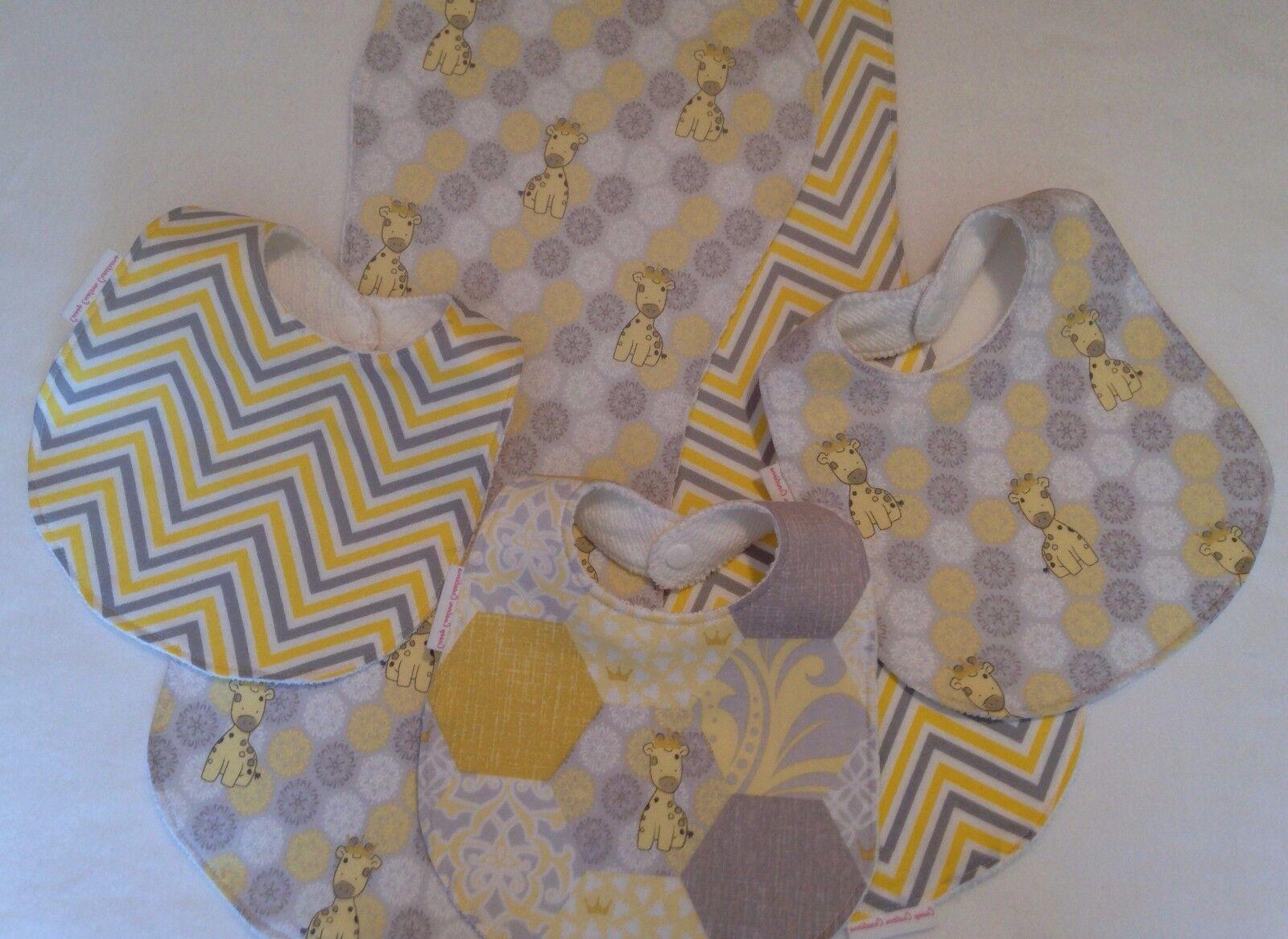Baby Bib/Burp Cloth Gift Set/ Unisex Daisy Kingdom Giraffes/