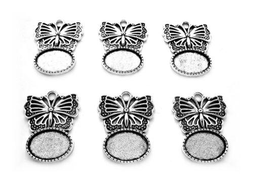 6 Antiq. SILVERTONE Butterfly 18mm x 13mm CAMEO PENDANT Frame Earrings Settings