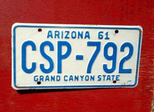 1961 Arizona Nice Original CSP-792 Grand Canyon License Plate