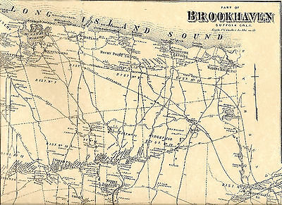 Wading River Shoreham Rocky Point NY 1873 Map with Homeowners Names Shown