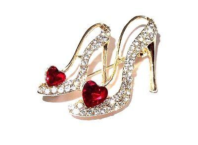 Red Heart Rhinestones Crystal Gold Tone High Heel Pin Brooch Hat Society Ladies Crystal Heart Pin