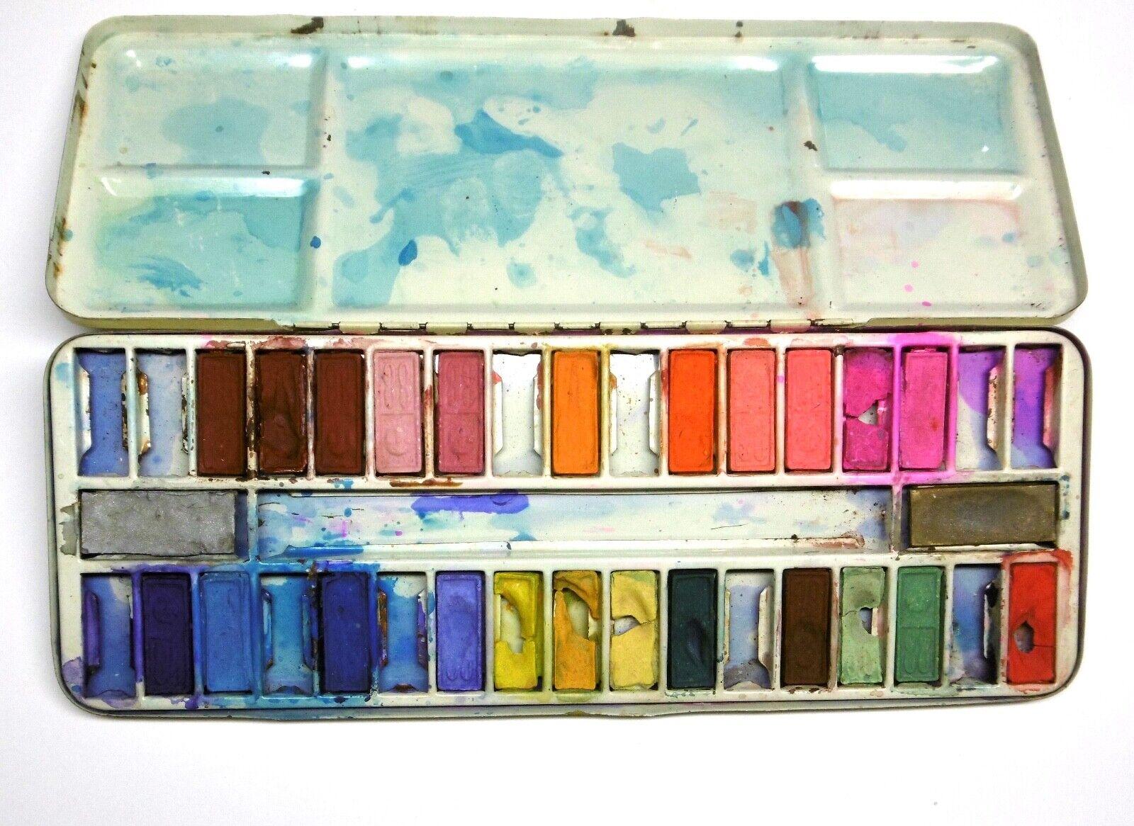 Alter Aquarell Farbkasten GEBRAUCHT! 25 von 36 Farben im Blechetui (um 1960)