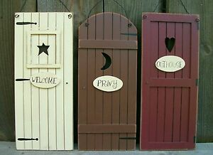 Image Is Loading Set-3-Primitive-Country-034-Outhouse-034-Door- & Outhouse Doors \u0026 Name: Bdcb Pezcame.Com