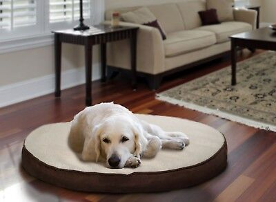 Furhaven Faux Sheepskin / Suede Round Deluxe Orthopedic Dog Bed Pet (Suede Round Bed)