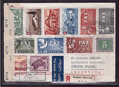 Schweiz 452-456 460-463 Pax Pro Patria 1945 Luftpost R-Brief Argentinien (21522)