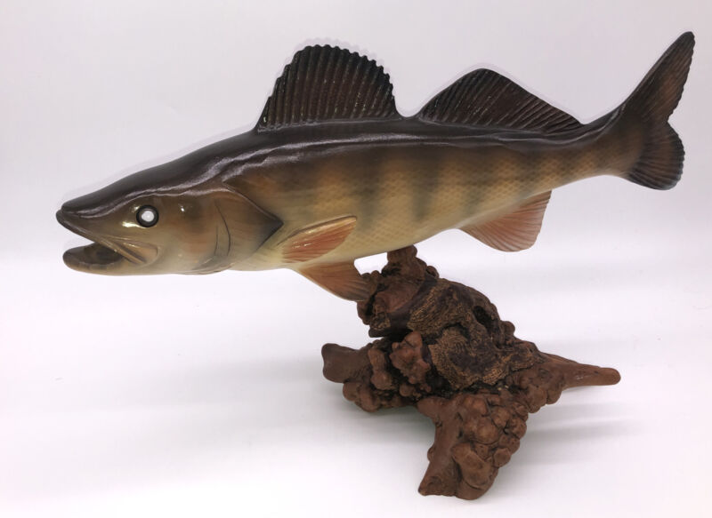 Hand Carved Wooden Painted Walleye? Fish On Stunning Wood Stand