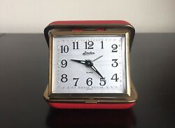 Vintage Linden Wind Up Travel Alarm Clock Japan Red
