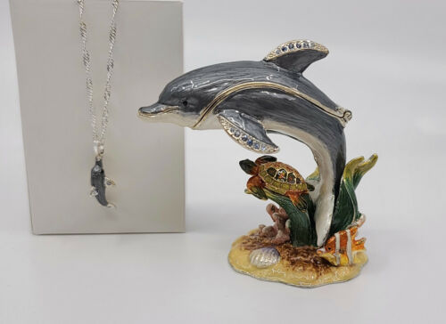 * WOW! DOLPHIN BEJEWELED TRINKET BOX WITH MATCHING NECKLACE *