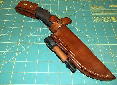 Custom Leather Knife Sheath Fits MORA  BUSH CRAFT KNIFE RH  Dangle,  Ferro Rod