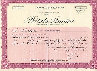 UNITED KINGDOM 1964, PORTALS HOLDING Ltd., Zertifikat über 25 Stammaktien je 5