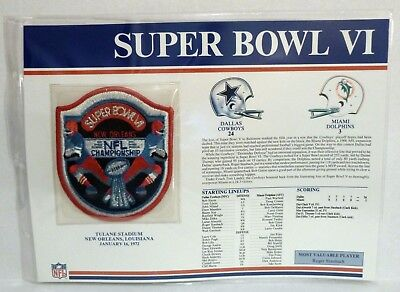 Willabee Ward Nfl Super Bowl Vi Dolphins Cowboys Patch On Fact Stat Card Rare