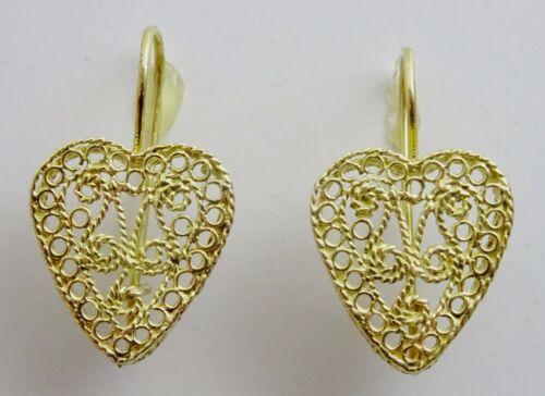 18 karat Gold  Handmade Heart Filigree Earrings