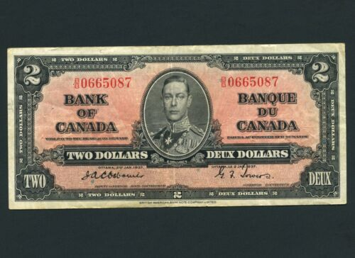 1937 Bank of Canada 2 Dollar Note S/N BB0665087 OSBOURNE - TOWERS