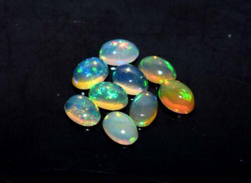 Black Friday Sale 4x6MM 9Pcs Natural Ethiopian Opal Loose Gemstone Cabochon 30